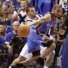 Oklahoma City\'s Eric Maynor (6) tries to get past Jose Juan Barea (11) of Dallas during game 2 of the Western Conference Finals in the NBA basketball playoffs between the Dallas Mavericks and the Oklahoma City Thunder at American Airlines Center in Dallas, Thursday, May 19, 2011. Photo by Bryan Terry, The Oklahoman
