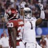 Texas A&M\'s Ben Malena (1) celebrates a touchdown in front of Oklahoma\'s Javon Harris (30) during the college football Cotton Bowl game between the University of Oklahoma Sooners (OU) and Texas A&M University Aggies (TXAM) at Cowboy\'s Stadium on Friday Jan. 4, 2013, in Arlington, Tx. Photo by Chris Landsberger, The Oklahoman