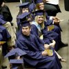 Edmond North High School students look towards the crowd during graduation ceremonies at the Cox Convention Center in Oklahoma City on Friday, May 14, 2010. Photo by Bryan Terry, The Oklahoman