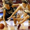 OU\'s Morgan Hook (10), upper right, and Vanderbilt\'s Elan Brown (30) and Heather Bowe (3) chase a loose ball in the second half during a women\'s college basketball game between the University of Oklahoma Sooners and the Vanderbilt Commodores at Lloyd Noble Center in Norman, Okla., Sunday, Dec. 16, 2012. Vanderbilt won, 76-63. Photo by Nate Billings, The Oklahoman