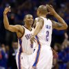 Oklahoma City\'s Russell Westbrook (0) celebrates with Caron Butler (2) during Game 7 in the first round of the NBA playoffs between the Oklahoma City Thunder and the Memphis Grizzlies at Chesapeake Energy Arena in Oklahoma City, Saturday, May 3, 2014. The Thunder won 120-109. Photo by Nate Billings, The Oklahoman