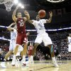 Oklahoma\'s Blake Griffin (23) and North Carolina\'s Ed Davis (32) fight for a rebound during the first half in the Elite Eight game of NCAA Men\'s Basketball Regional between the University of North Carolina and the University of Oklahoma at the FedEx Forum on Sunday, March 29, 2009, in Memphis, Tenn. PHOTO BY CHRIS LANDSBERGER, THE OKLAHOMAN