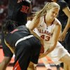 Oklahoma\'s Tara Dunn (43) gets tied up with Cal State Northridge\'s Ashlee Guay (5) in the second half during a women\'s college basketball game between the University of Oklahoma (OU) and Cal State Northridge at the Lloyd Noble Center in Norman, Okla., Saturday, Dec. 29, 2012. OU won, 79-57. Photo by Nate Billings, The Oklahoman