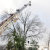 Photo - Falling limbs from a tall oak tree damaged a home in Frederick, Md., after Wednesday's, Feb. 5, 2014, ice storm. A large crane had to be brought in by the Broadhurst Tree Service of Frederick to remove the limbs from the home's roof. (AP Photo/The Frederick News-Post,Sam Yu)