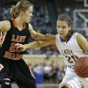 Okarche\'s Morgan Vogt tries to get past Cheyenne\'s Taylor Swisher during the Class A girls state championship game between Okarche and Cheyenne/Reydon in the State Fair Arena at State Fair Park in Oklahoma City, Saturday, March 2, 2013. Photo by Bryan Terry, The Oklahoman