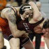 OU\'s Nick Lester wrestles OSU\'s Jordan Oliver during the wrestling match between Oklahoma University and Oklahoma State University at McCasland Field House in Norman, Okla.,Sunday, Dec. 9, 2012. Photo by Garett Fisbeck, For The Oklahoman