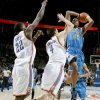 Rasual Butler of New Orleans drives to the basket by Oklahoma City\'s Nick Collison, center, and Jeff Green during the NBA basketball game between the Oklahoma City Thunder and the New Orleans Hornets at the Ford Center in Oklahoma City on Friday, Nov. 21, 2008. BY BRYAN TERRY, THE OKLAHOMAN
