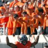 Oklahoma State\'s Justin Gilbert (4) celebrates during a college football game between the Oklahoma State University Cowboys (OSU) and the Baylor University Bears (BU) at Boone Pickens Stadium in Stillwater, Okla., Saturday, Oct. 29, 2011. Photo by Sarah Phipps, The Oklahoman