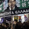 Mourners protest against racist attacks and the murder of Shehzad Luqman, a Pakistani immigrant who was killed on Thursday after being stabbed by suspected extreme rightists, during a protest in Athens on Saturday, Jan. 19 2013. An estimated 3,000 people marched through central Athens in protest at a spate of anti-immigrant attacks that turned fatal Thursday when a 27-year-old Pakistani immigrant was stabbed by suspected extreme rightists. (AP Photo/Kostas Tsironis)