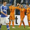 Real\'s Cristiano Ronaldo, Real\'s Karim Benzema and Real\'s Gareth Bale, from left, celebrate their team\'s fourth goal during the Champions League round of the last 16 first leg soccer match between Schalke 04 and Real Madrid in Gelsenkirchen, Germany, Wednesday, Feb.26,2014. (AP Photo/Frank Augstein)