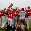 Photo - Hilldale celebrates their win during the 4A high school baseball playoff game between Hilldale and Anadarko at Shawnee High School in Shawnee, Okla., Friday, May 11, 2012. Photo by Sarah Phipps, The Oklahoman