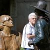 Carolyn Bishop, of Oklahoma City, gets a look at a sculpture called