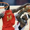 United States\' LeBron James puts up a shot against Spain\'s Serge Ibaka during the men\'s gold medal basketball game at the 2012 Summer Olympics, Sunday, Aug. 12, 2012, in London. (AP Photo/Victor Caivano)