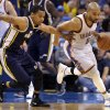 Oklahoma City \'s Derek Fisher (6) drives up court as Utah\'s Trey Burke (3) defends after a turnover during the NBA game between the Oklahoma City Thunder and the Utah Jazz at the Chesapeake Energy Arena, Sunday, March 30, 2014, in Oklahoma City. Photo by Sarah Phipps, The Oklahoman
