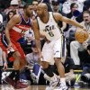 Washington Wizards\' A.J. Price (12) defends against Utah Jazz\'s Jamaal Tinsley (6) during the first quarter of an NBA basketball game, Wednesday, Jan. 23, 2013, in Salt Lake City. (AP Photo/Rick Bowmer)