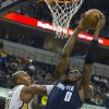 Charlotte Bobcats\' Bismack Biyombo (0) drives to the basket against Indiana Pacers\' David West (21) during the first half of an NBA basketball game in Indianapolis, Saturday, Jan. 12, 2013. (AP Photo/Doug McSchooler)