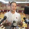 Lon Kruger, new University of Oklahoma (OU) Sooner men\'s basketball head coach, talks to the media after the team