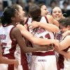 The 2002 Sooners celebrate their Final Four victory over Duke. Photo by Doug Hoke, The Oklahoman Archive