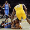 LOS ANGELES LAKERS: Oklahoma City\'s Russell Westbrook (0) and Los Angeles\' Metta World Peace (15) fight for the ball before a scrum and double technicals in the second quarter during Game 3 in the second round of the NBA basketball playoffs between the L.A. Lakers and the Oklahoma City Thunder at the Staples Center in Los Angeles, Friday, May 18, 2012. Photo by Nate Billings, The Oklahoman