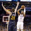 Oklahoma City \'s Caron Butler (2) shoots over Utah\'s Gordon Hayward during the NBA game between the Oklahoma City Thunder and the Utah Jazz at the Chesapeake Energy Arena, Sunday, March 30, 2014, in Oklahoma City. Photo by Sarah Phipps, The Oklahoman