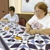 Doris Ennis and Myrtle Santin, both from Yukon, working on a quilt at the Dale Roberston Activity Center in Yukon Tuesday, June 24, 2008. BY PAUL B. SOUTHERLAND, THE OKLAHOMAN