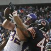 Chicago Bears safety Chris Conte (47) breaks up a pass intended for Minnesota Vikings tight end Kyle Rudolph (82) in the first half of an NFL football game in Chicago, Sunday, Nov. 25, 2012. (AP Photo/Charles Rex Arbogast)