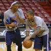 Oklahoma City\'s Russell Westbrook, left, and Eric Maynor joke around before a practice the day before Game 4 of the NBA Finals between the Oklahoma City Thunder and the Miami Heat at American Airlines Arena, Monday, June 18, 2012. Photo by Bryan Terry, The Oklahoman