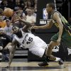 San Antonio Spurs\' DeJuan Blair (45) and Utah Jazz\'s Alec Burks, right, chase a loose ball during the second quarter of Game 2 of a first-round NBA basketball playoff series, Wednesday, May 2, 2012, in San Antonio. (AP Photo/Eric Gay)