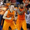 Oklahoma State\'s Phil Forte (10) and Marcus Smart (33) celebrate during the men\'s college basketball game between Oklahoma State and UC Davis at Gallagher-Iba Arena in Stillwater, Okla., Friday, Nov. 9, 2012. Photo by Sarah Phipps, The Oklahoman