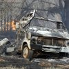FIRE / DAMAGE: A burned out motor home was in the path of wildfires which destroyed 12 structures in Lindsay, Okla. on Thursday, April 9, 2009. Photo by Steve Sisney, The Oklahoman ORG XMIT: KOD