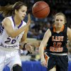 Okarche\'s Morgan Vogt comes down with the ball beside Cheyenne\'s Lauren Wright during the Class A girls state championship game between Okarche and Cheyenne/Reydon in the State Fair Arena at State Fair Park in Oklahoma City, Saturday, March 2, 2013. Photo by Bryan Terry, The Oklahoman