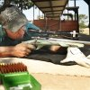 Chandler resident Gary Crews takes aim on a target during the International Handgun Metallic Silhouette World Championships at the OKC Gun Club near Arcadia, OK, Friday, July 13, 2012. More than 600 shooters from four different countries are competing. By Paul Hellstern, The Oklahoman