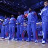 Oklahoma City\'s Nick Collison and the rest of the team line up for the pre-game prayer during Game 2 in the second round of the NBA playoffs between the Oklahoma City Thunder and the L.A. Lakers at Chesapeake Energy Arena on Wednesday, May 16, 2012, in Oklahoma City, Oklahoma. Photo by Chris Landsberger, The Oklahoman