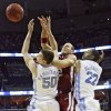 Oklahoma\'s Taylor Griffin (32) battles for a rebound with North Carolina\'s Tyler Hansbrough (50) and Wayne Ellington (22) during the second half in the Elite Eight game of NCAA Men\'s Basketball Regional between the University of North Carolina and the University of Oklahoma at the FedEx Forum on Sunday, March 29, 2009, in Memphis, Tenn. PHOTO BY CHRIS LANDSBERGER, THE OKLAHOMAN