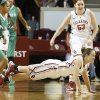 Oklahoma\'s Whitney Hand dives for a loose ball during a game vs. North Texas on Dec. 6, 2012. Hand tore her left ACL later in the game, likely ending her career at Oklahoma. PHOTO BY STEVE SISNEY, The Oklahoman