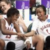 Danielle Robinson, left, and Nyeshia Stevenson celebrate their NCAA Tournament win over Georgia Tech. The Sooners are headed back to Ford Center for the NCAA Regional semifinals. PHOTO BY STEVE SISNEY, THE OKLAHOMAN