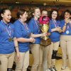 The Moore girl\'s team holds the championship trophy after beating Eisenhower during the 2011-2012 State High School Bowling Championships at the Heritage Lanes Bowling Center in Oklahoma City, OK, Saturday, Feb. 25, 2012. By Paul Hellstern, The Oklahoman