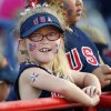 Mary Elizabeth Brooks, 6, of Enid, waits for the start of the championship game of the World Cup of Softball between the United States and Australia at ASA Hall of Fame Stadium in Oklahoma City, Monday, July 2, 2012. Photo by Nate Billings, The Oklahoman