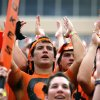 OSU freshman Zac Dunnam cheers during a college football game between the Oklahoma State University Cowboys (OSU) and the University of Louisiana at Lafayette (ULL) Ragin\' Cajuns at Boone Pickens Stadium in Stillwater, Okla., Saturday, Sept. 3, 2011. Photo by Sarah Phipps, The Oklahoman