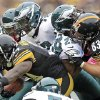 Photo -   Pittsburgh Steelers running back Rashard Mendenhall (34) runs past Philadelphia Eagles strong safety Nate Allen (29) and defensive tackle Cedric Thornton (72) in the second quarter of an NFL football game in Pittsburgh, Sunday, Oct. 7, 2012. (AP Photo/Gene J. Puskar)