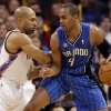 Oklahoma City\'s Derek Fisher (6) defends agains tOrlando\'s Arron Afflalo (4) during the NBA basketball game between the Oklahoma City Thunder and the Orlando Magic at the Chesapeake Energy Arena, Sunday, Dec. 15, 2013. Photo by Sarah Phipps, The Oklahoman