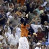 Photo - Houston Astros' Jonathan Villar and the fans react to his two-run triple against the Toronto Blue Jays in the fourth inning of a baseball game, Friday, Aug. 23, 2013, in Houston. (AP Photo/Pat Sullivan)