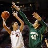 Oklahoma\'s Nicole Griffin (4) shoots against Baylor\'s Brittney Griner (42) during a women\'s college basketball game between the University of Oklahoma and Baylor at the Lloyd Noble Center in Norman, Okla., Monday, Feb. 25, 2013. Baylor beat OU, 86-64. Photo by Nate Billings, The Oklahoman
