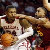 Oklahoma\'s Romero Osby (24) and Iowa State Cyclone\'s Tyrus McGee (25) tangle as the University of Oklahoma Sooners (OU) men play the Iowa State Cyclones in NCAA, college basketball at Lloyd Noble Center on Saturday, March 2, 2013 in Norman, Okla. Photo by Steve Sisney, The Oklahoman