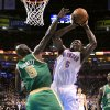 Oklahoma City\'s Kendrick Perkins (5) shoots over Boston\'s Kevin Garnett (5) during the NBA game between the Oklahoma City Thunder and the Boston Celtics at the Chesapeake Energy Arena in Oklahoma City, Sunday, March 10, 2013. Photo by Sarah Phipps, The Oklahoman