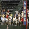 Fans file out of the stands due to a lightning delay in the sixth inning during the softball game in the Women\'s College World Series between Louisiana-Lafayette and Alabama at ASA Hall of Fame Stadium in Oklahoma City, Saturday, May 31, 2008. When the game resumed after midnight Alabama won, 3-1. BY NATE BILLINGS, THE OKLAHOMAN