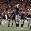 Oklahoma State\'s Brandon Weeden (3) celebrates Joseph Randle\'s winning touchdown during a college football game between the Oklahoma State University Cowboys (OSU) and the Kansas State University Wildcats (KSU) at Boone Pickens Stadium in Stillwater, Okla., Saturday, Nov. 5, 2011. Photo by Sarah Phipps, The Oklahoman ORG XMIT: KOD