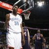 Oklahoma City\'s Kevin Durant (35) pumps his fist after scoring a basket and being fouled in the first half during the NBA basketball game between the Oklahoma City Thunder and the New Jersey Nets at the Ford Center in Oklahoma City, Monday, January 26, 2009. BY NATE BILLINGS, THE OKLAHOMAN ORG XMIT: KOD