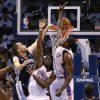 Memphis\' Tayshaun Prince dunks the ball over Oklahoma City\'s Reggie Jackson and SergenIbaka during Game 5 in the second round of the NBA playoffs between the Oklahoma City Thunder and the Memphis Grizzlies at Chesapeake Energy Arena In Oklahoma City, Wednesday, May 15, 2013. Photo by Bryan Terry, The Oklahoman