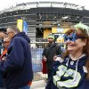 Photo - Football fans arrive at MetLife Stadium, Sunday, Feb. 2, 2014, in East Rutherford, N.J. The Seattle Seahawks are scheduled to play the Denver Broncos in NFL football's Super Bowl XLVIII game on Sunday evening. (AP Photo/Matt Rourke)